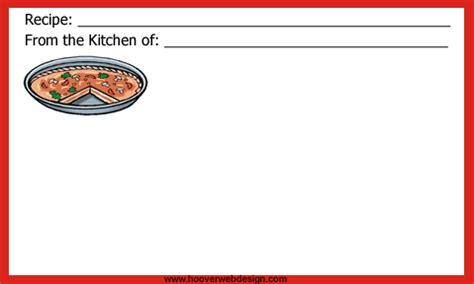 pizza template for a card printable recipe cards to for free