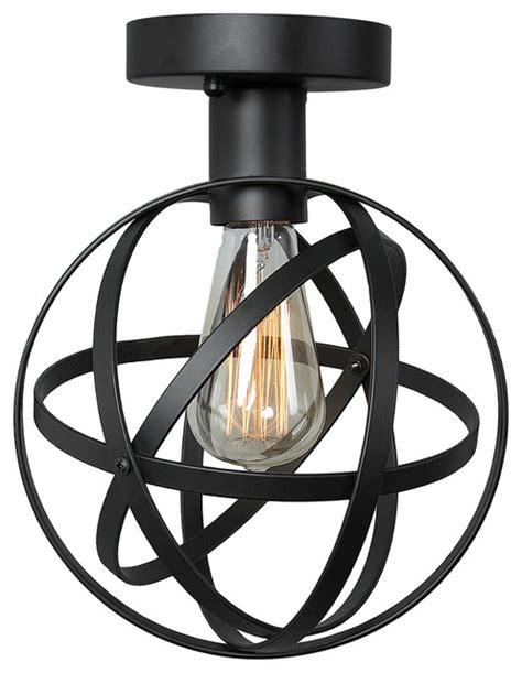 black industrial flush mount light 1 light globe wire cage ceiling light black industrial