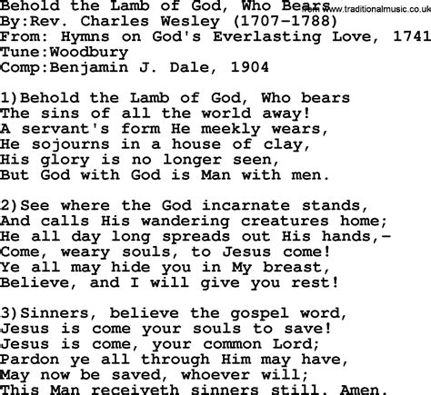 Pdf In The Of The Beheld by Methodist Hymn Behold The Of God Who Bears Lyrics