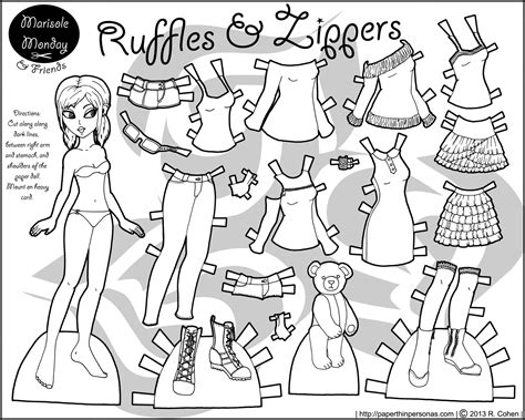 free clothes paper doll coloring pages