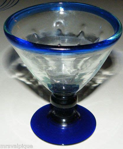 antique lovely mexican hand blown glass cordial