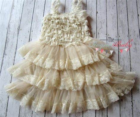 baby ruffle lace petti dress vintage look flower dress 9 12 18 months rustic