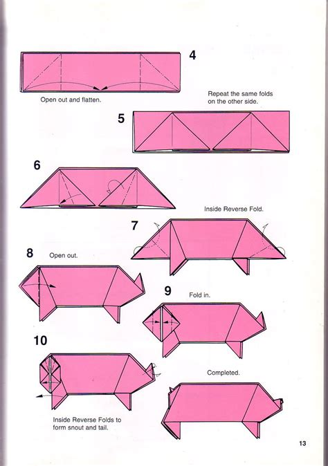 Simple Origami Directions - simple pig origami 1 papes