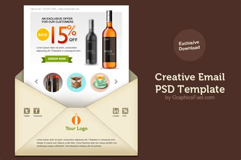creative templates creative email newsletter psd template graphicsfuel