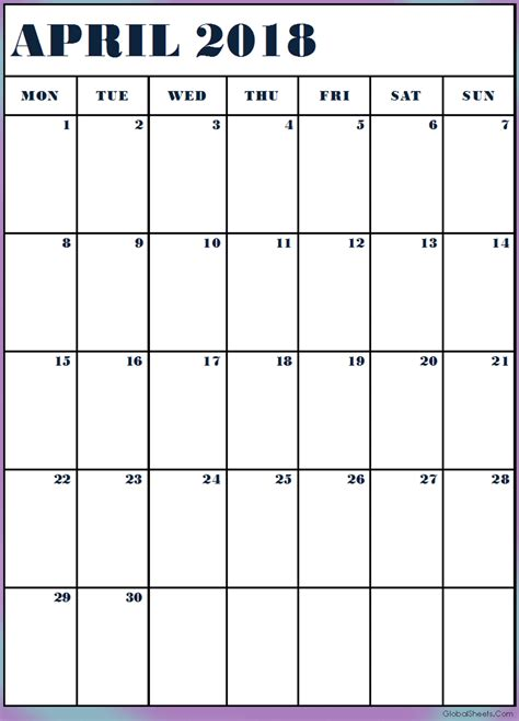 Printable Calendar Monthly 2018