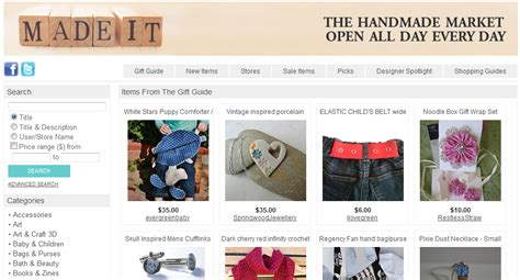 Handmade Craft Websites - collection of 15 websites list to sell and buy