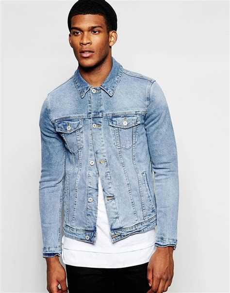 light wash denim jacket asos denim jacket in skinny fit with mid wash in blue for