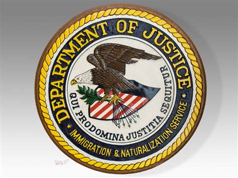 us bureau of justice department of justice plaque shields flashes