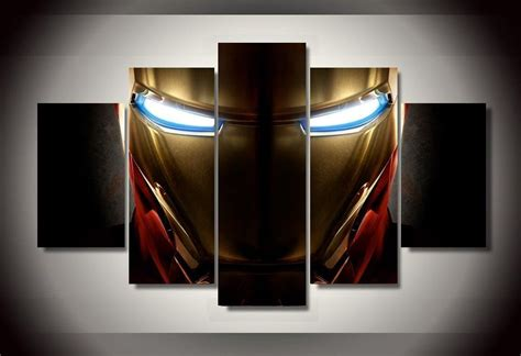 iron man home decor 5 panel quot mysterious helmet quot iron man canvas painting iron man helmet wall canvas and marvel