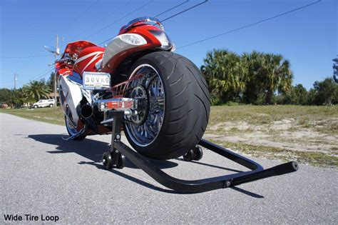 wide motorcycle redline sport bike combo stand wide tire loop clearance