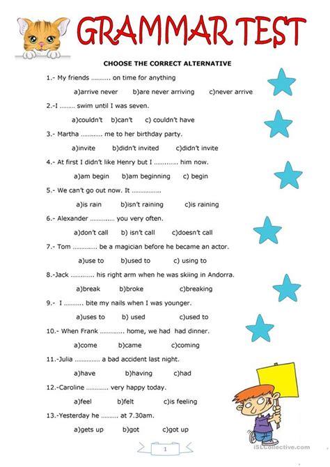 printable free english tests grammar test worksheet free esl printable worksheets