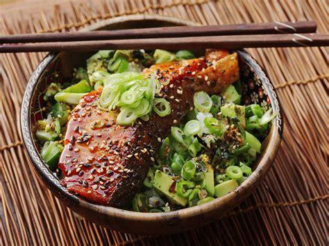 easy teriyaki glazed salmon cucumber and avocado rice