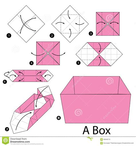 How To Make An Origami Paper Box - step by step how to make origami a box stock