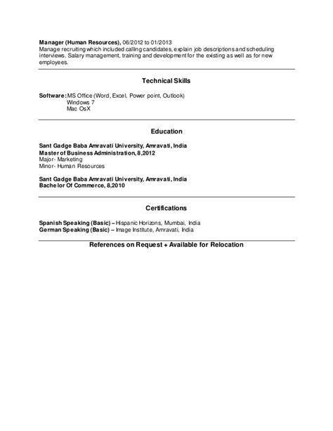 Mba Hr Salary In Australia by Manali Saodekar Mba Hr Marketing Resume