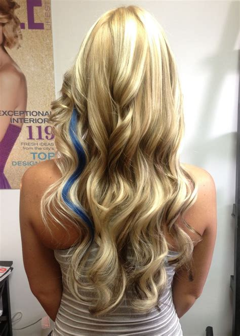 long blonde hair with dark low lights long blonde hair with lowlights and a pop of color hair