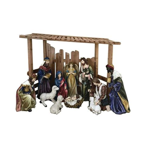 home accents holiday 66 in led lighted tinsel nativity