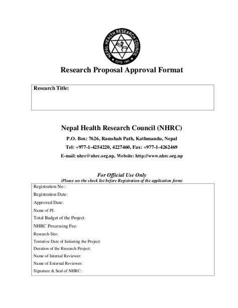 Letter For Research Approval Approval Format Of Nhrc