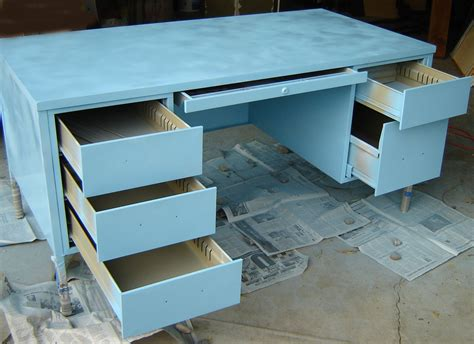 Metal Desk Makeover Part 1 Preparation And First Paint Coat Blue Desk