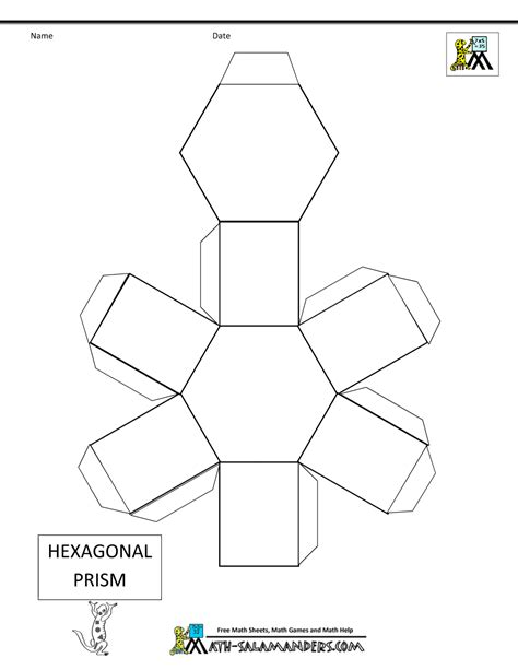 How To Make A Prism Out Of Paper - basic geometric shapes hexagonal prism net tabs