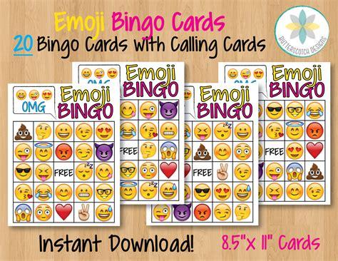 printable emoji games emoji printable bingo cards 20 different by butterscotchdesign