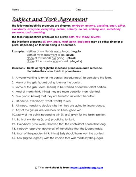 Subject Verb Agreement Worksheet by All Worksheets 187 Subject Verb Agreement Worksheets