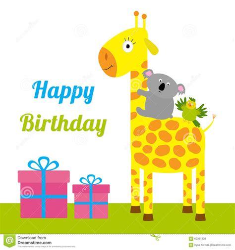 happy birthday flat design happy birthday card with cute giraffe koala and parrot