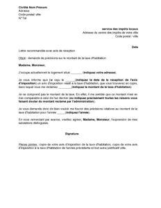 Exemple De Lettre De Demande Partenariat Lettre De Demande De Pr 233 Cisions Sur Le Montant De La Taxe D Habitation Mod 232 Le De Lettre