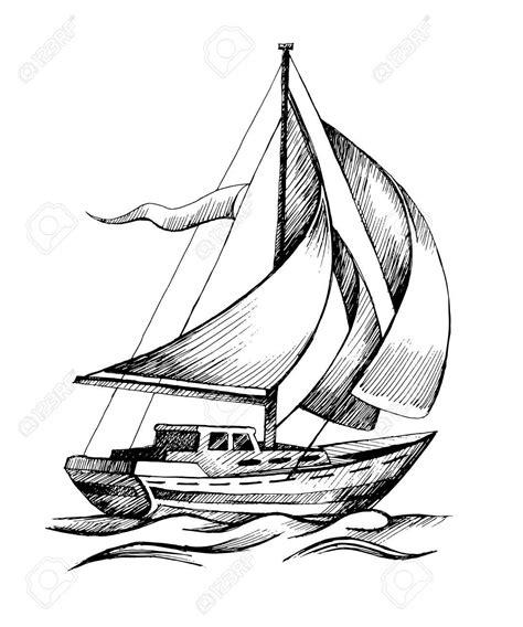 sailboat drawing sketch sailing ship vector sketch - Boat Waves Drawing