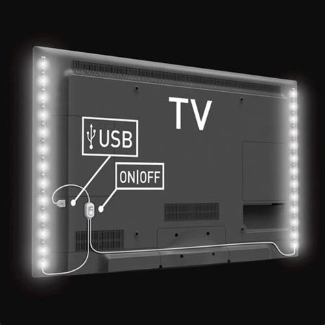 Usb Mood Light For Tv With Two 19 7 Quot White Led Strips At Led Mood Lighting Strips