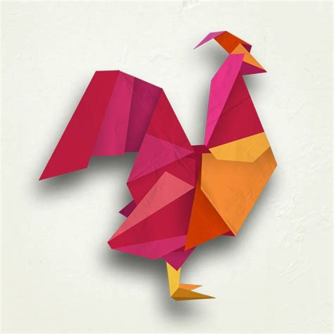 Origami Rooster - rooster digital origami illustration by mel rodicq www