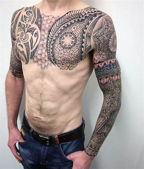 geometric tattoo on chest 60 geometric chest tattoos for men upper body design ideas