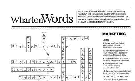 Mba Course Crossword Clue by Wharton Words Marketing