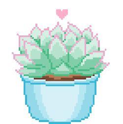 Pretty cute kawaii green pastel plants pixel art pixel pixels pixel