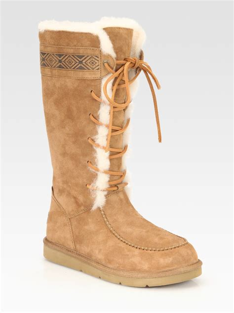lace up ugg boots ugg tularosa lace up suede and shearling boots in