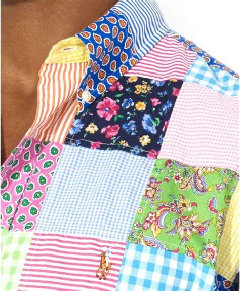 Ralph Patchwork - ralph polo customfit patchwork poplin sport shirt