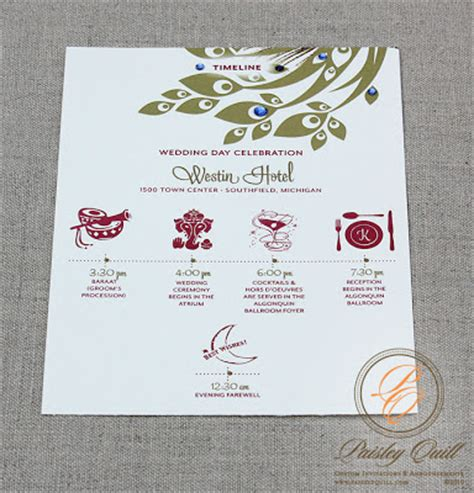 wedding invitation mailing timeline paisley quill peacock themed hindu wedding invitations
