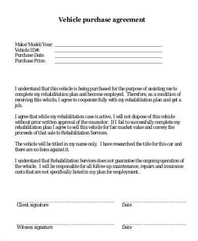 Printable Vehicle Purchase Agreement