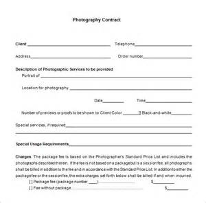 Contract For Photography Services Template by 5 Commercial Photography Contract Templates Free Word