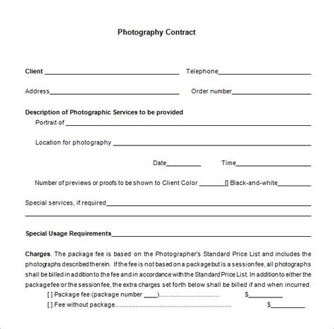 simple photography contract template 9 commercial photography contract templates free word