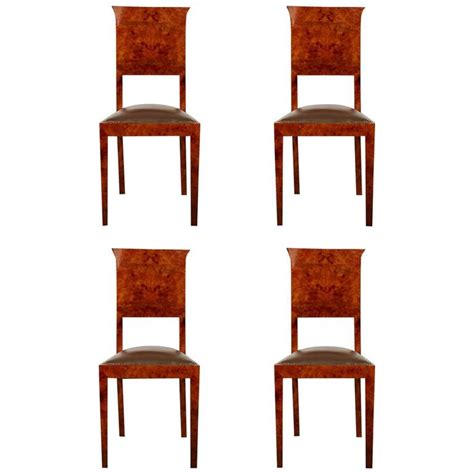 german burl wood deco side chairs set of four at 1stdibs