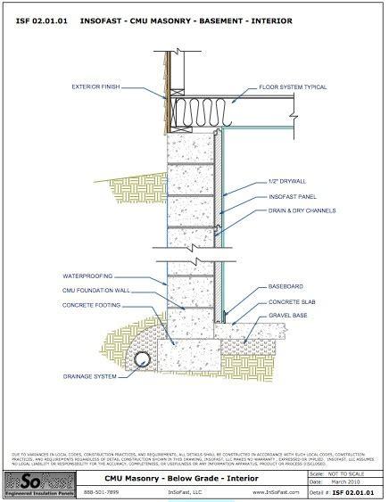 cmu wall section 119 best images about insofast basements on pinterest