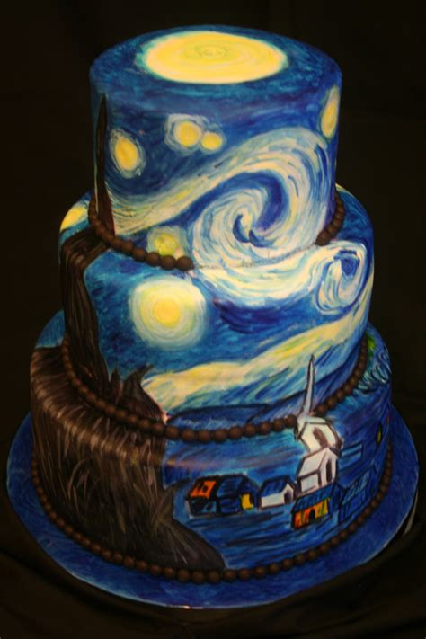 night of cake and van gogh s starry night sweetface cakes
