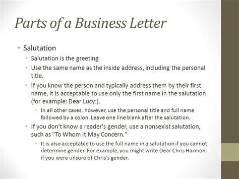 Effective Business Letter Ppt business letter salutation free formal business letter