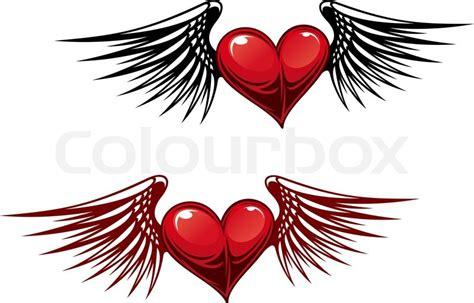 retro heart  wings  tattoo design stock vector