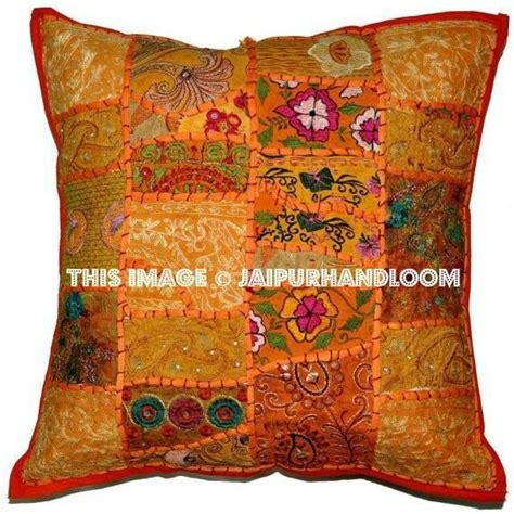 orange vintage throw pillow  couch embroidered bedroom pillows