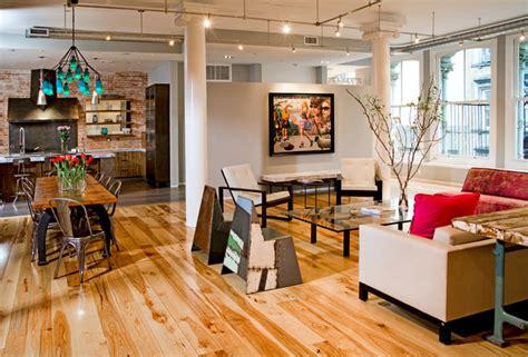 tribeca loft industrial living room new york by