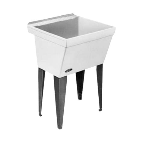 Shop Mustee 23 in x 23.5 in 1 Basin White Freestanding Composite Utility Tub with Drain at Lowes.com