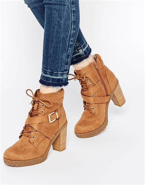 new look new look lace up heeled work boots at asos