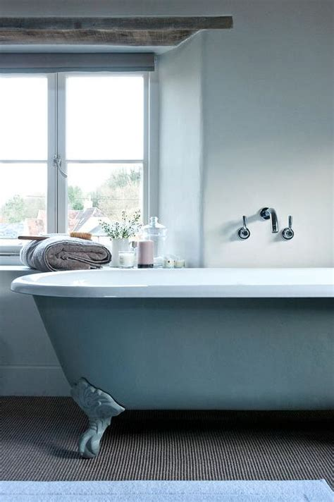 blue claw foot tub with wall mount tub filler cottage