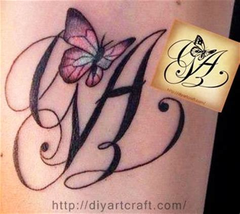 Monogram Ga Tattoo Butterfly Tattoos On The Skin Butterfly Tattoos With Initials